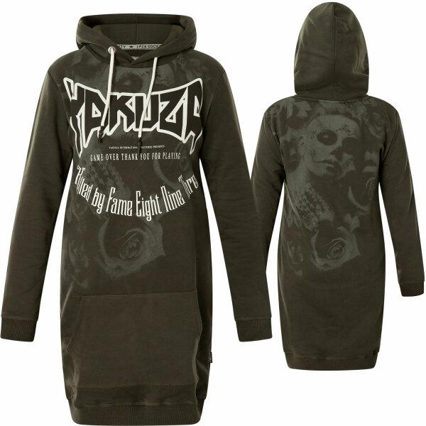 Yakuza Kleid Gloria Y Muertos Sweat Dress GKB-17111 Black Ink Dunkelgrau