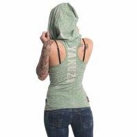 Yakuza Damen Hoody Psychotic Skull Hooded Tank Shirt  Turf Green Grün