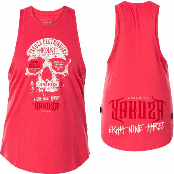 Yakuza Damen Through Skull Loose Tank Shirt GSB-16128 Rose Red Meliert Pink
